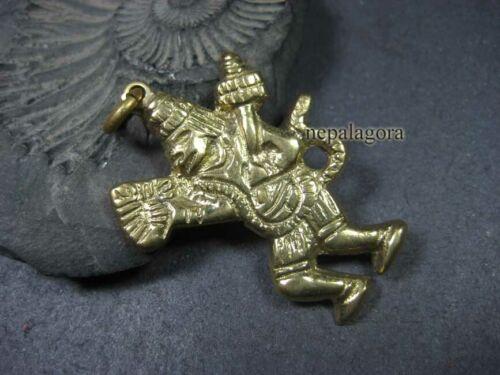 P03 Lord Hanuman Monkey Yogi God Om solid Brass pendant India Nepal