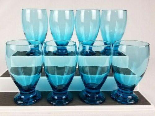Rare Set of 8 Blue Vaseline/Uranium Drinking Glasses Tumblers Crystal 12oz VTG