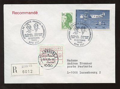 LUXEMBOURG FRAMA REGIST.AIRCRAFT franking FRANCE GERMANY DE GAULLE ADENAUER 1985
