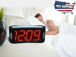 Alarm Clock Large Display Loud Beep Snooze Outlet Powered LED Digital Bed Side
