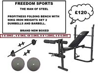 PROFITNESS MULTI USE BENCH 90KG IRON WEIGHTS 2 DUMBELLS BARBELL (BNB)