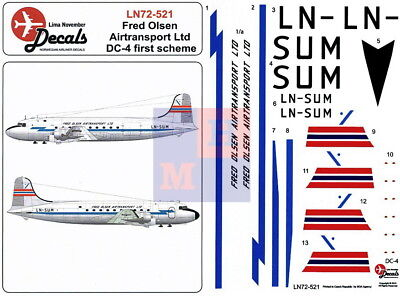"1/72. Douglas DC-4 ""Fred Olsen earlier"" decals, by ""LN Decals"" LN 72-521"