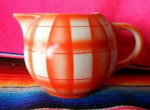 Vintage Czechoslovakia Erphila Art Pottery Hand  Painted Plaid Orange Creamer