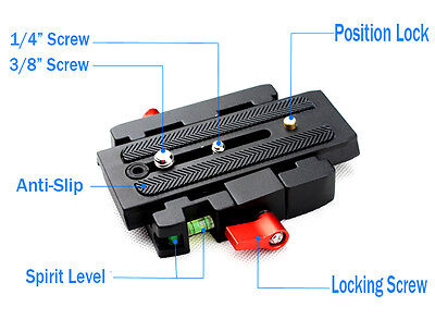Quick Release QR Plate Clamp Adapter Base Station CL For DSLR Camera Tripod Rail