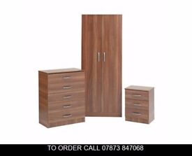cas Ready Built Set of Wardrobes in 3 Colours mdnf