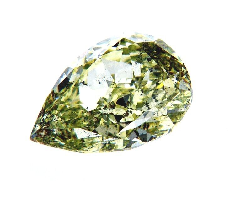 2 CT Rare Fancy Green Natural Loose Diamond Pear Cut SI2  Clarity GIA Certified