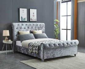 ❗❗ Discounted Beds in Stock ❗❗ Brand New Sleigh beds in Grey and Silver with Stuuded Headboard