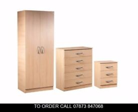 vasd Assembled Set of Wardrobe with Chest and Bedside
