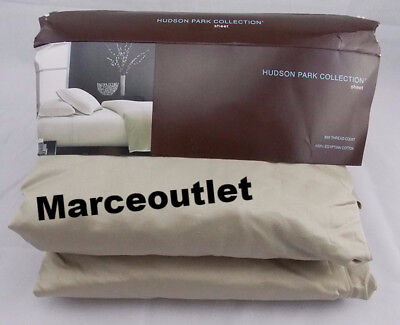 Hudson Park 800 Thread Count Embroidered Cotton QUEEN Fitted Sheet Driftwood