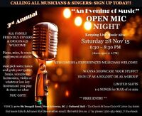 3rd Annual Evening of Music Open Mic Night