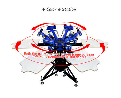 6 Color 6 Station Screen Printing Press Double Rotary Printer With Pallet