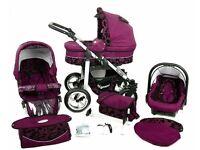 Baby Pram Stroller Buggy Pushchair 3in1 + Car seat, exellent condition