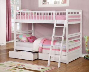 FREE SHIPPING! Solid Wood Twin over Twin Bunk Bed with Drawers!