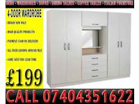 New 4 Door Wardrobe Fitment Set with Dresser Drawers Mirror Rails Shelves Light bulb