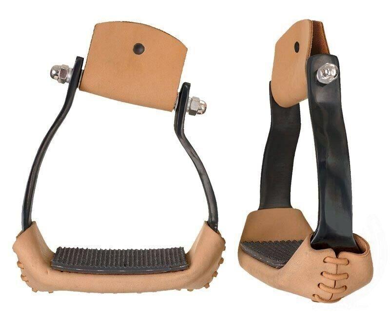 Western Stirrups - Comfort Angled Black Aluminum - 2 Inch Tread