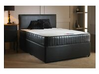 COMPLETE BLACK DIVAN BED /DOUBLE MEMORY ORTHOPEDIC MATTRESS AND BASE SINGLE/KING