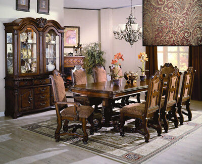 NEW 9PC NEO RENAISSANCE ELEGANT RICH CHERRY FINISH WOOD DINING TABLE SET