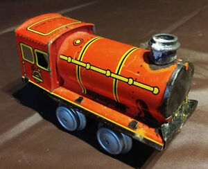 Old Wind-Up Fine Litho Print Steam Toy Locomotive, Great Britain