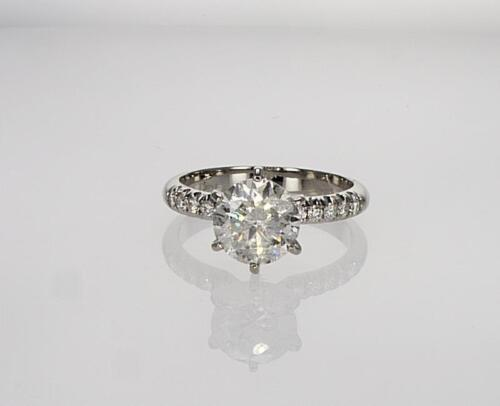 Diamond Engagement Ring 6 Prongs Round 2.00 Ct D Si1 14 K White Gold Christmas