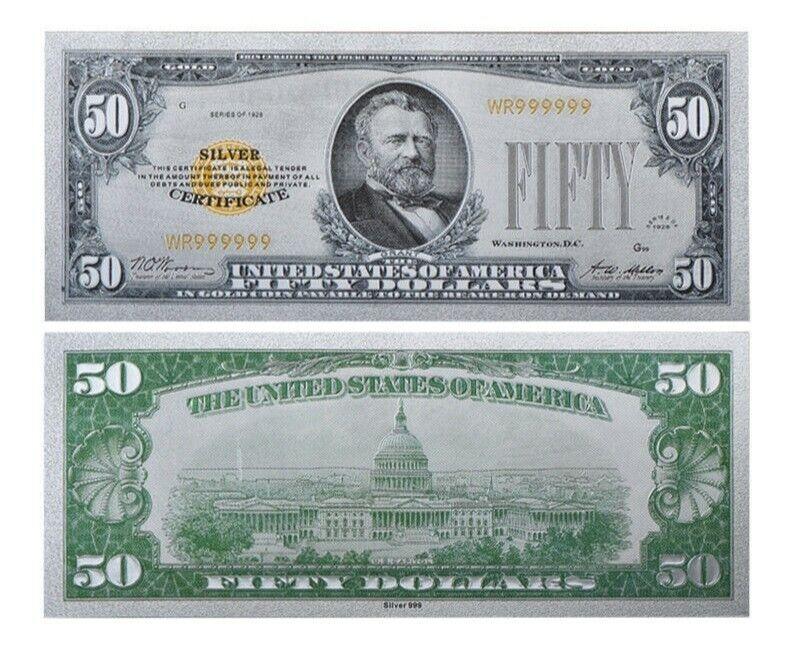 1928 $50 Dollar Bill United States (.999 SILVER) REP.Banknote .999 SILVER L@@K