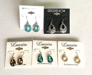 Earrings - 5 Sets - For Sensitive Ears - UNSOLD AUCTION ITEMS