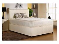 """*◄◄*Premium Quality Bed And Mattress*►►*Double/Small Double Divan Bed w 9"""" Thick Deep Quilt Mattress"""