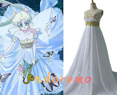 or Moon Princess Serenity Tsukino Usagi Cos Costume White (Sailor Moon Kostüme Halloween)
