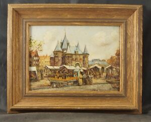 OIL ON BOARD VILLAGE SCENE PIET PETERS 1889-1950