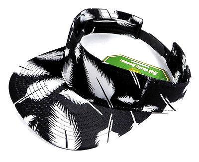 BLACK WHITE FEATHER PRINT VISOR SNAPBACK HAT CAP ADJUSTABLE HAWAIIAN FLORAL SUN - White Visor