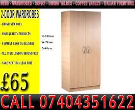 2 Door Assembled Wardrobe with Shelf/Rail all colors