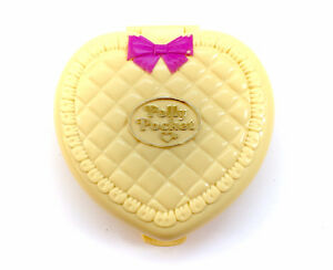 Vintage 1994 Polly Pocket Nursery Yellow Heart Compact Pink Bow