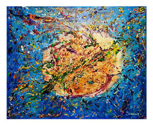 Abstract painting, blueoriginal Painting, multicolo canvas, gift