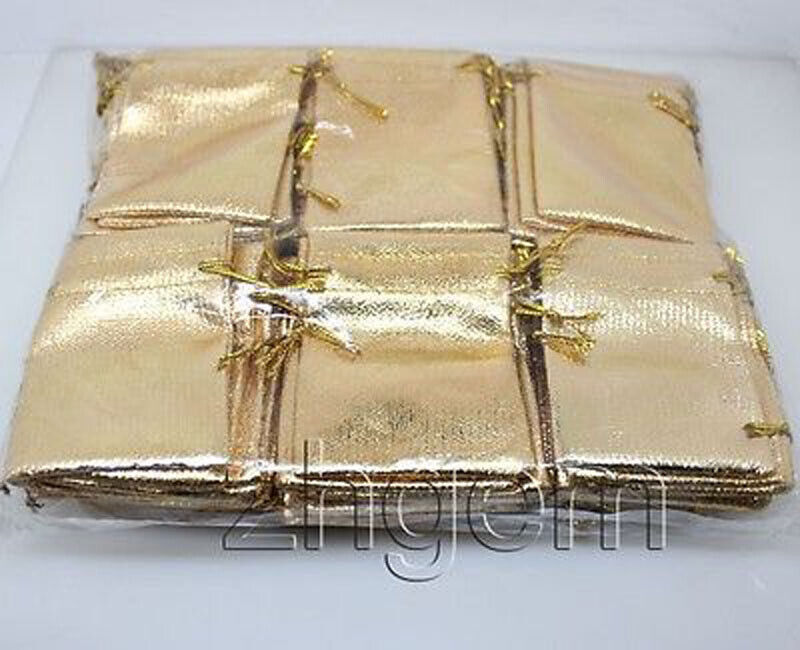 Wholesale Lot 100PCS Golden  Jewelry Gift Pouches 70mm X90mm Wedding Ceremony