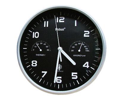 Mebus Funk Wanduhr Thermo Hygrometer Küchenuhr Uhr 25,5 cm Funkuhr Bürouhr Schwa