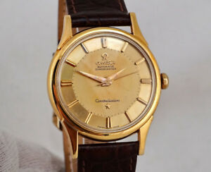 VINTAGE OMEGA CONSTELLATION DE-LUXE 18K GOLD PIE-PAN DIAL 1959