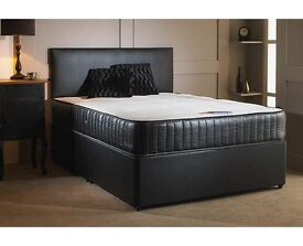 NEW KING BLACK DIVAN BED AND WHITE ORTHOPEDIC MATTRESS AVAILABLE IN (SINGLE DOUBLE) SIZE