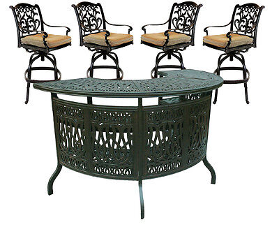 Outdoor 5 Piece Patio Party Bar Set Cast Aluminum Garden Swivel Stools Bronze