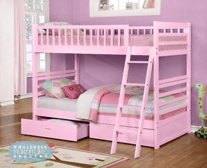 SALE! New! Twin/Twin Bunk Bed in various colours!