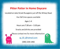 PITTER PATTER IN HOME DAYCARE.