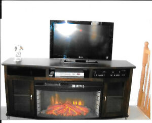 Entertainment unit with fireplace insert