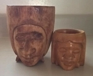 Vintage Native American Hand Carved Wooden Mugs with a Head/Face