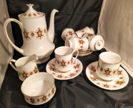 VINTAGE CHINA COFFEE SET BY PARAGON (5 COMPLETE SETTINGS)