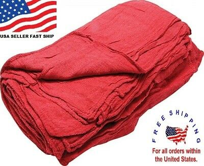 100 New Great American Textile Mechanics Shop Rags Towels Red Large Jumbo 13x14