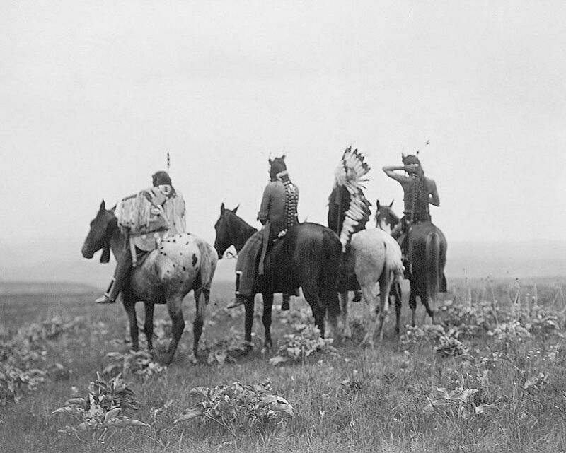 CROW INDIANS IN MONTANA EDWARD S. CURTIS 8x10 SILVER HALIDE PHOTO PRINT