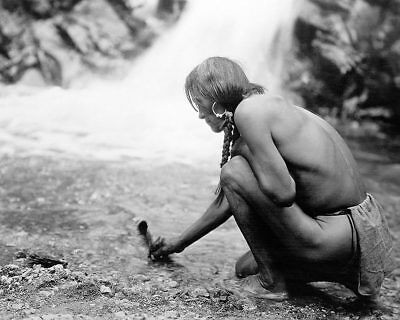 NAMBE OFFERING AT THE WATERFALL NATIVE AMERICAN 11x14 SILVER HALIDE PHOTO PRINT