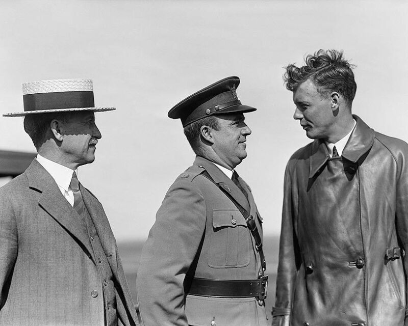 ORVILLE WRIGHT & CHARLES LINDBERGH 1927 11x14 SILVER HALIDE PHOTO PRINT