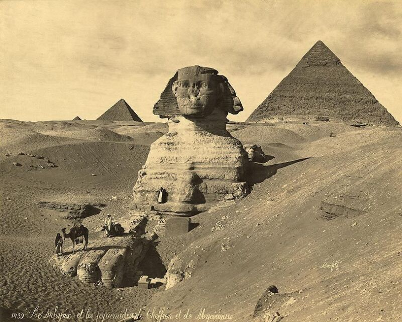 THE SPHINX & TWO PYRAMIDS EGYPT 1867 8x10 SILVER HALIDE PHOTO PRINT