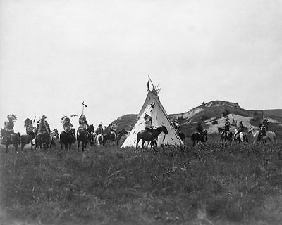 SIOUX INDIANS & TEEPEE, EDWARD S. CURTIS 11x14 SILVER HALIDE PHOTO PRINT