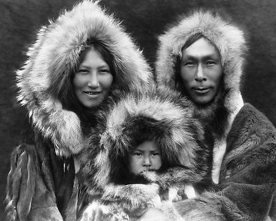 EDWARD S. CURTIS 1929 NOATAK ESKIMO FAMILY 11x14 SILVER HALIDE PHOTO PRINT