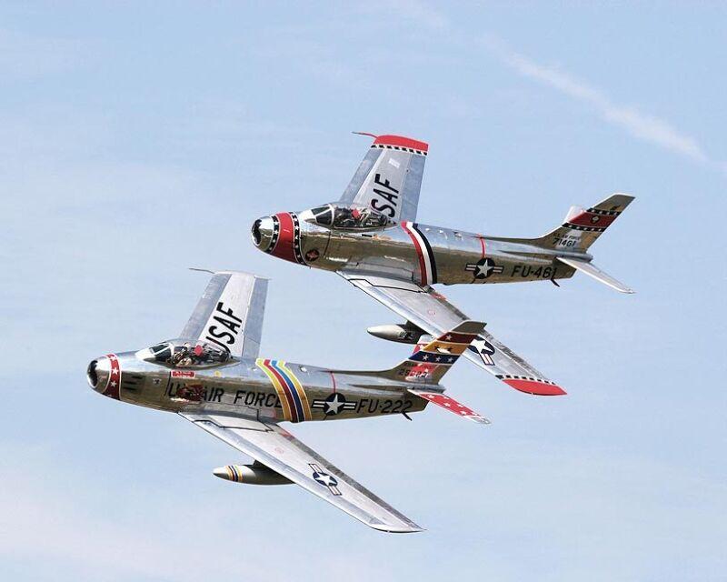 F-86 SABRE JET AIRCRAFT PAIR 8x10 SILVER HALIDE PHOTO PRINT